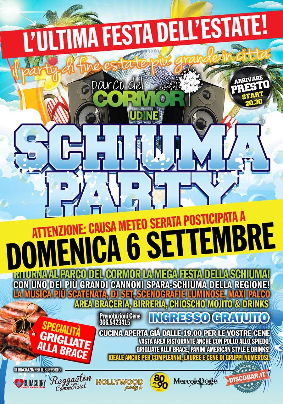 schiuma2 Schiuma Party spostato a Domenica 6 Settembre / Parco del Cormor