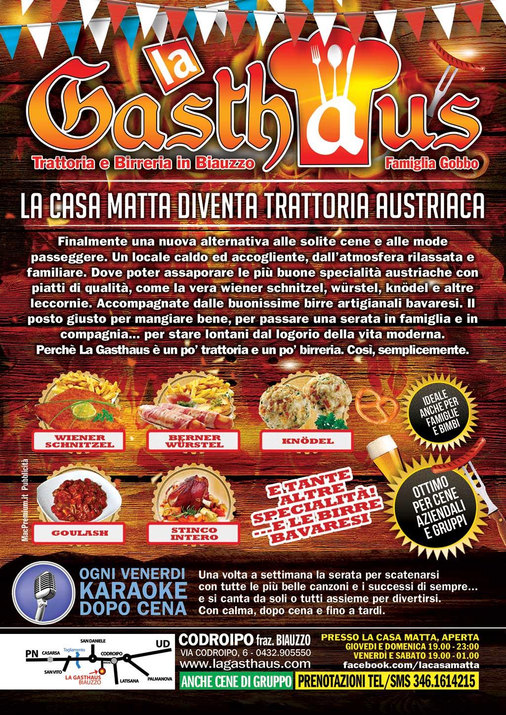 la gasthaus b La Gasthaus, trattoria con piatti austriaci a Codroipo (ex Casa Matta)