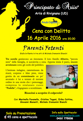 16 aprile Cena con Delitto al Principato di Ariis
