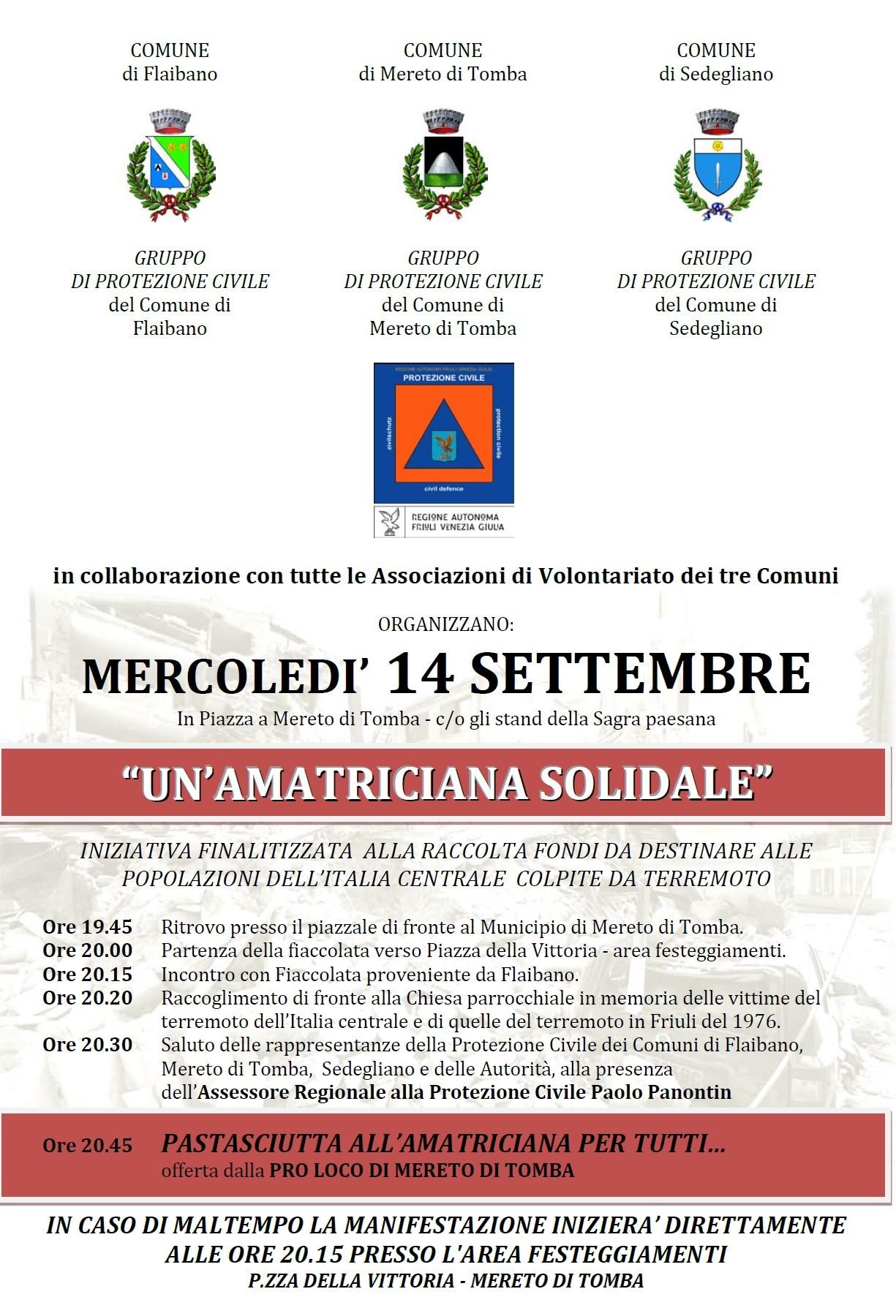 """immagine """"Amatriciana solidale"""" a Flaibano, Mereto di Tomba e Sedegliano"""