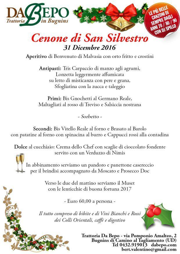 menu capodanno da bepo udine 2016 620x877 Cenone di Capodanno alla trattoria Da Bepo di Bugnins