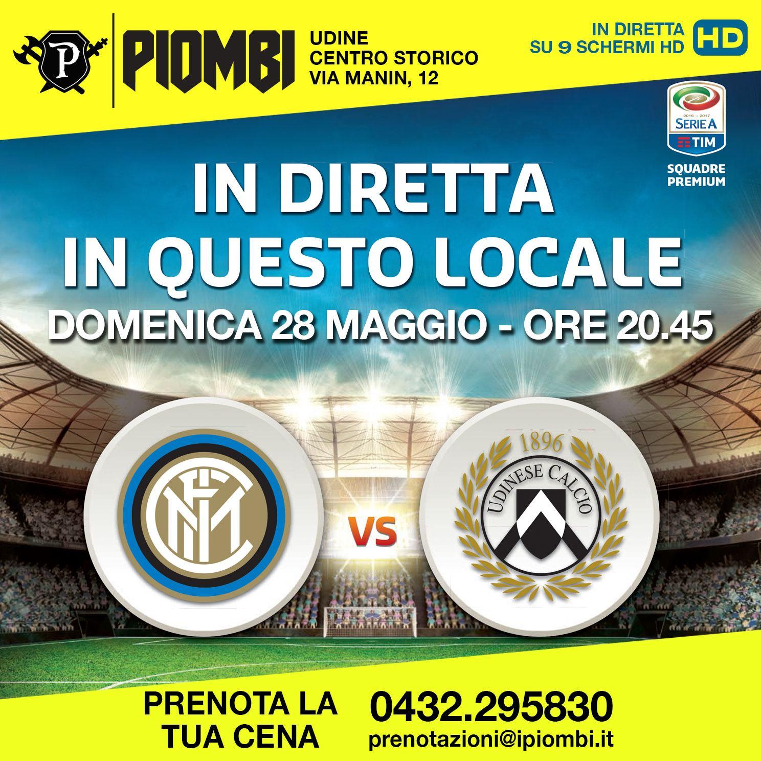 Inter – Udinese in diretta a Udine ai Piombi