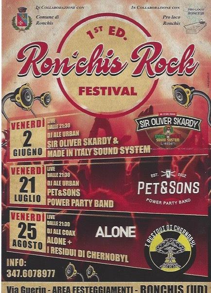 %name Ronchis Festival Rock   2 giugno 21 luglio 25 agosto