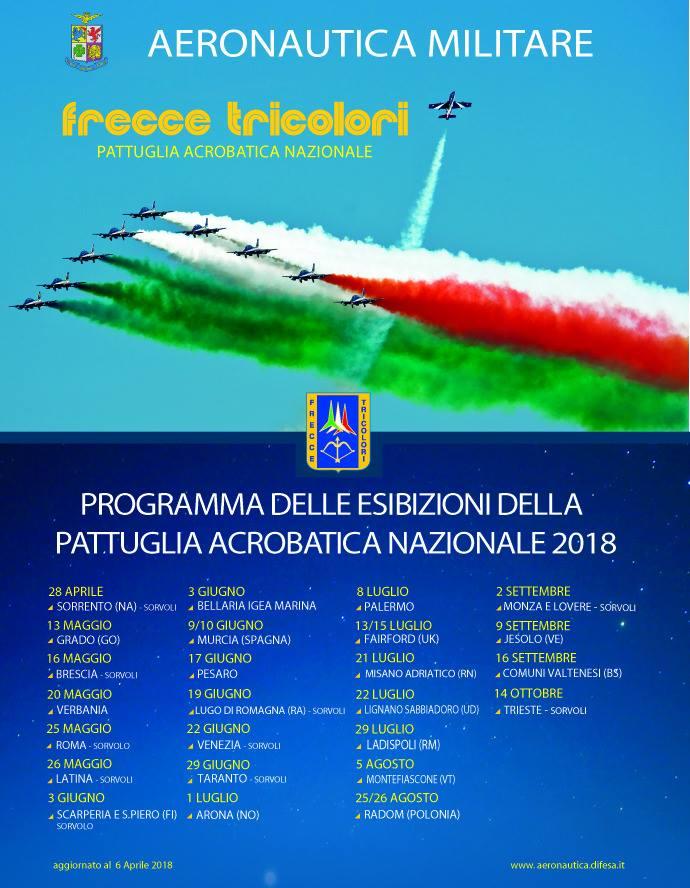 evento friuli programma delle esibizioni della pattuglia acrobatica nazionale frecce tricolori 2018 programma esibizioni frecce tricolori Programma delle esibizioni della pattuglia acrobatica nazionale Frecce Tricolori 2018